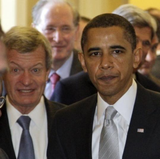 Senator Max Baucus and President Obama after yesterday's closed session.