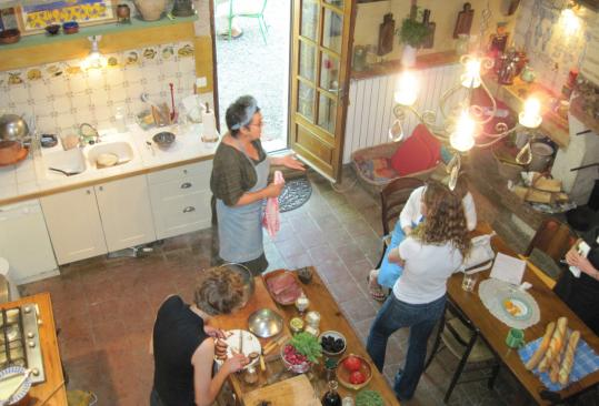 Students in Kate Hill's Kitchen-at-Camont cooking school get to work in the large kitchen, which occupies most of the ground floor of Hill's 18th-century brick and stone farmhouse. She offers weekend workshops, day classes, and long-term study.