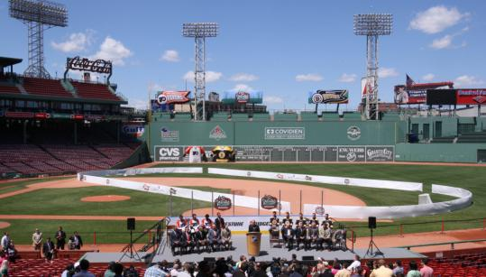 The real rink at Fenway Park, not the summer facsimile, is in the process of being created for the Winter Classic.