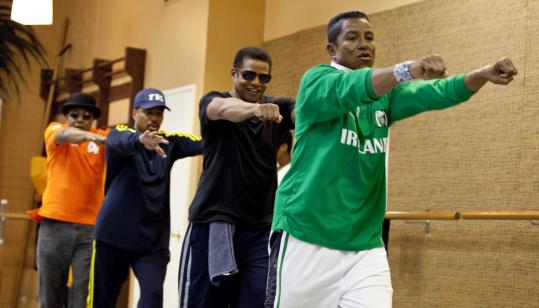 "From left: Tito, Marlon, Jackie, and Jermaine Jackson rehearse for a performance on the six-hour ""The Jack5ons: A Family Dynasty.''"