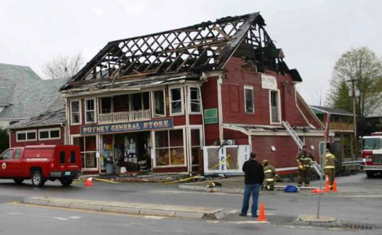 An electrical fire destroyed the third floor and drenched much of the rest of the Putney General Store in May 2008.