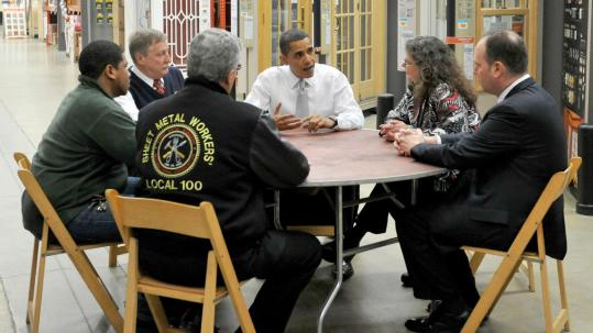 President Obama spoke with a laborers, business people, and others at a Home Depot in Alexandria, Va. He said more jobs could be created through energy-efficiency programs.