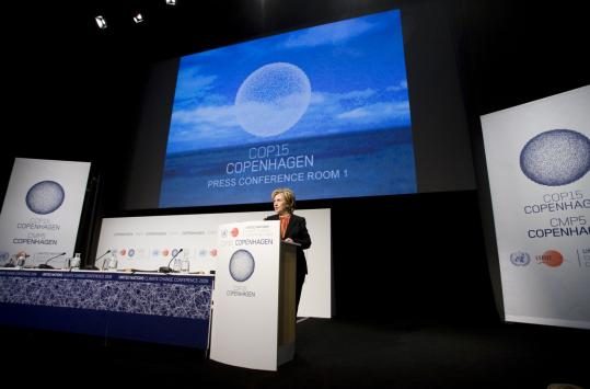 Prospects for an agreement to reduce greenhouse gas emissions improved in Copenhagen yesterday after Secretary of State Hillary Rodham Clinton said the United States would help create a fund by 2020 to help developing countries.