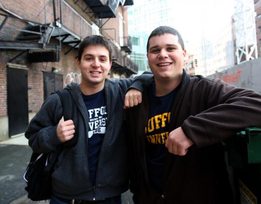Mike Giannattasio (left) with his brother Kevin outside the Wilbur Theatre on the lookout for celebrities.