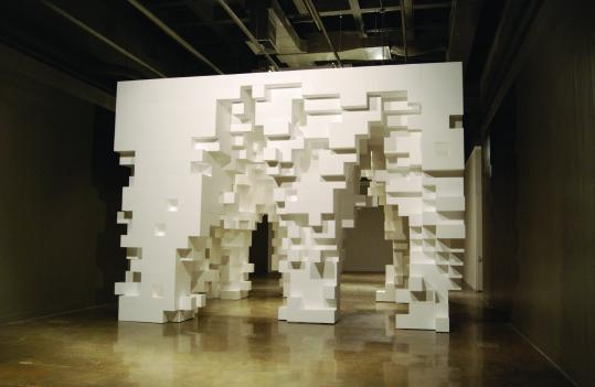 """Erosion, 2009'' by Tobias Putrih, an artist, and Michael Meredith, an architect, at MIT List Visual Arts Center is built on subtraction and is kept in place by glue."