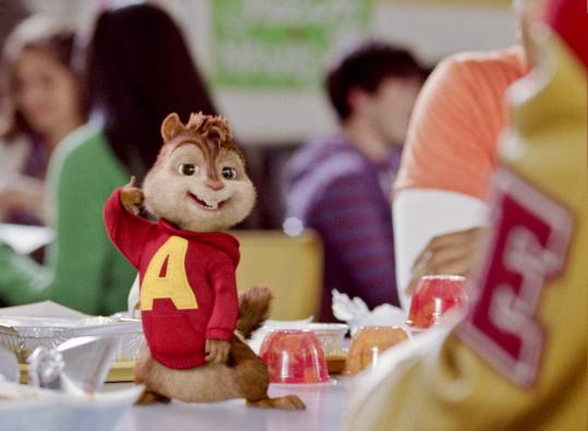 """Squeakquel'' offers the same mixture as before: live-action humans and computer-animated chipmunks. Here Alvin entertains some of his new friends at school."