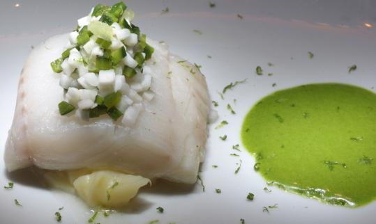 Haddock in coconut water and lemongrass and served with mint oil is among the tasty entrees at Market, famed chef Jean-Georges Vongerichten's restaurant in the new W hotel.