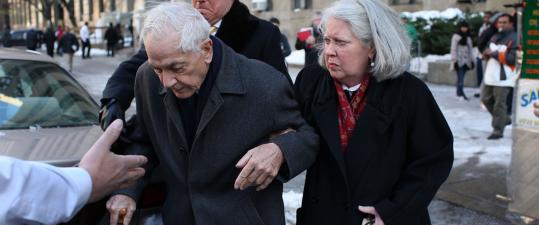 Anthony Marshall, 85, son of the late New York philanthropist Brooke Astor, arrived at court yesterday for his sentence hearing.