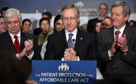 """The finish line is in sight,'' said Senator Max Baucus (right), shown yesterday with Senators Chris Dodd and Harry Reid."