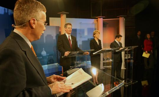 Moderator Jon Keller (left) with US Senate hopefuls (from left) Scott Brown, Martha Coakley, and Joseph L. Kennedy last night.