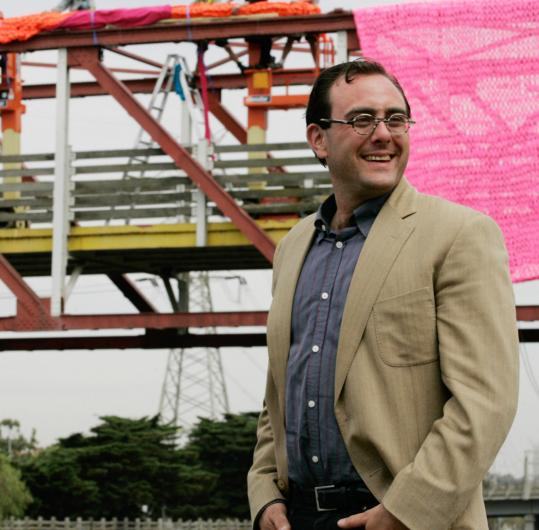 Dave Cole, this year's Rappaport Prize winner, knitted a large pink piece of graffiti on a bridge in Australia, part of the Big West Festival. Unfortunately it was ruined by vandals.