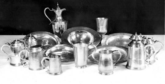 The silverware collection of the First Parish Church in Beverly dates to the 17th and 18th centuries. It includes a ewer bearing the mark of Paul Revere.