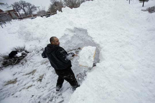 Jose Felix, who shoveled a drift on a sidewalk in Des Moines yesterday, may be back at it today. Blizzards are predicted to hit parts of North Dakota, South Dakota, Nebraska, Wyoming, Minnesota, Iowa, and Wisconsin through today.