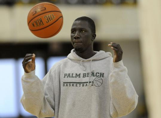 Thon Luony warmed up before a game in Miami recently. Trying to remain in the country on a student visa, the Sudanese man enrolled at a community college in Florida. It's his fourth school in three years.