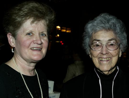 Sister Anna Catherine Murphy (right), the first principal at Fontbonne Academy in Milton, joined the current head of the school, Mary Ellen Barnes, at an event celebrating the high school's 50th anniversary.