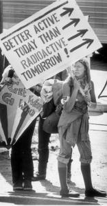 Demonstrators outside the site of the nuclear power plant in Seabrook, N.H.
