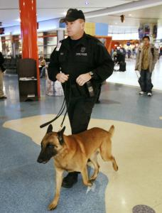 A Massachusetts State Police trooper walked with a bomb-sniffing dog through a Logan Airport terminal yesterday.