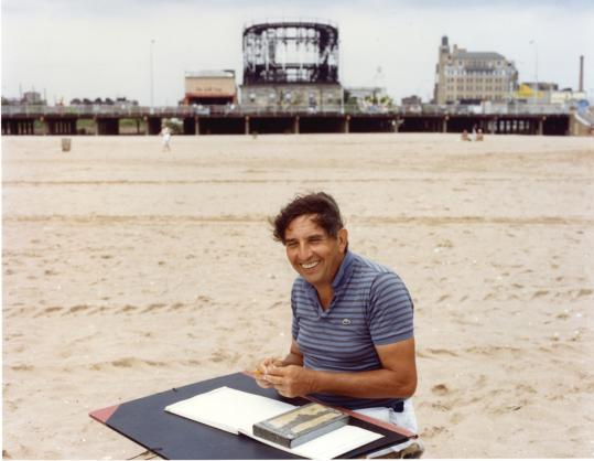 David Levine, above on the beach at Coney Island, contributed more than 3,800 drawings to The New York Review of Books.
