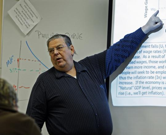 David Fagerstrom Sr. has strung together three jobs, including teaching at Southern New Hampshire University, since being laid off. But he is unable to approach his old income.