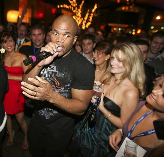 Darryl McDaniels played a DJ set at the Winter Classic Party at the Hotel Commonwealth to celebrate the Bruins game at Fenway today.