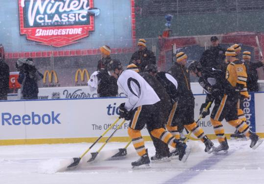 Some Bruins had to trade their sticks for shovels, but even that was a happy chore yesterday.