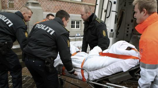 A Somali man charged with attacking a cartoonist was taken into court on a stretcher in Aarhus, Denmark, yesterday.