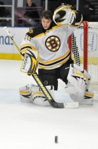 Goaltender Tuukka Rask didn't lose his head making one of his 32 saves, just his facemask.