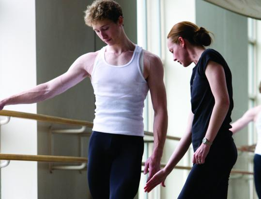 """I'm always looking for stories or images to engage the students,'' says Margaret Tracey, head of the Boston Ballet School, with dancer Daniel Goldsmith."