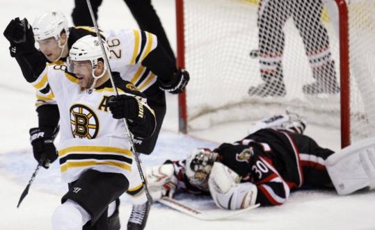 Mark Recchi's goal gave the Bruins a 4-0 lead and left Senators goalie Brian Elliott down - and eventually out. Elliott was yanked after just eight-plus minutes of action.