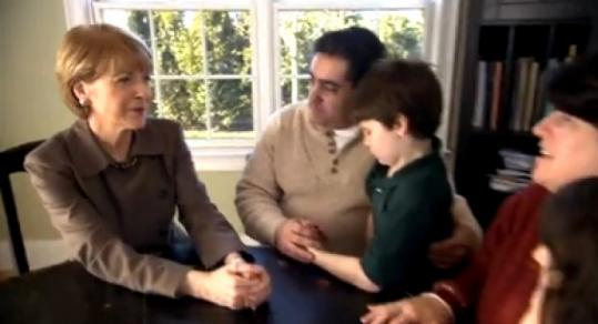 Martha Coakley's first TV ad of the postprimary Senate race highlights the recession's effect on Bay State residents.