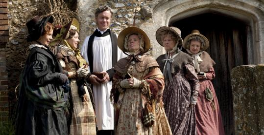 "From left: Celia Imrie, Barbara Flynn, Alex Jennings, Imelda Staunton, Judi Dench, and Julia McKenzie in PBS's ""Return to Cranford.''"