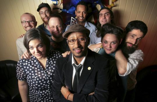 At the Western Front in Cambridge, Debo Band comprises (front, left to right) Stacey Cordeiro, accordion; group leader Danny Mekonnen, saxophones; Kaethe Hostetter, 5-string violin; Arik Grier, sousaphone; (rear, left to right) P.J. Goodwin, electric bass; Keith Waters, drums; Dave Harris, trombone; Bruck Tesfaye, vocals; Jonah Rapino, electric violin.