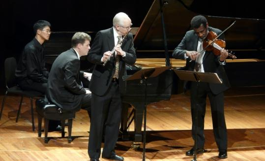 "Pianist Randall Hodgkinson, flutist Fenwick Smith, and violist and artistic director Marcus Thompson perform in MIT's ""Musical Time'' concert Saturday night at Kresge Auditorium."