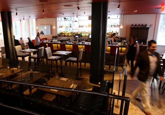Woodward at the Ames Hotel features two levels to eat and drink.