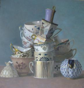 &#8220;Cup Pyramid on Turquoise&#8217;&#8217; by Olga Antonova.
