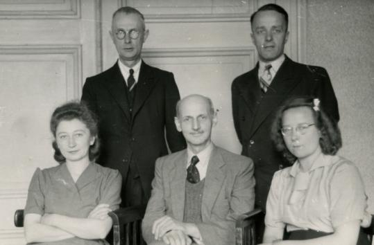 Miep Gies, front row left, is shown next to Otto Frank. Other helpers of the Franks were: Bep Voskuijl, front row right, Johannes Kleiman, top left, and Victor Kugler.