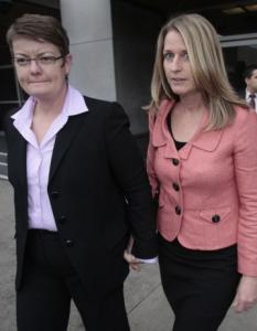 Kristen Perry (left) and Sandra Stier are one of the two couples suing the state of California to overturn its ban on same-sex marriage.