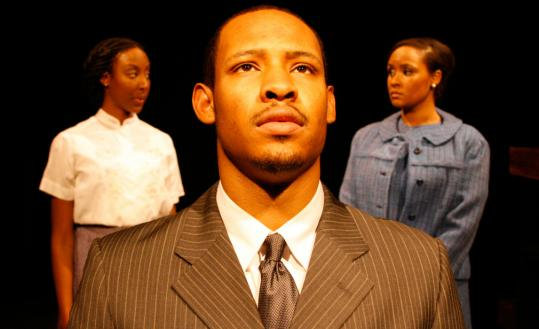"""Jonathan L. Dent (pictured with Marvelyn McFarlane, left, and Kris Sidbury) stars in the Company One production of """"The Good Negro.''"""