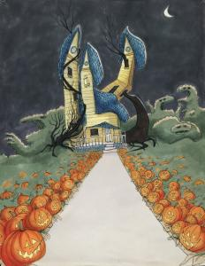 """Among Tim Burton's artworks on display at the Museum of Modern Art are """"Untitled (Trick or Treat)'' from 1980."""