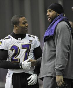 Running back Ray Rice (left) and linebacker Ray Lewis go hand-in-hand for the Ravens.
