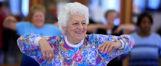 """Frances Sorgman, 78, of Brockton works out during an aerobics session for seniors, which she attends every week. """"I really love this class,'' she said."""