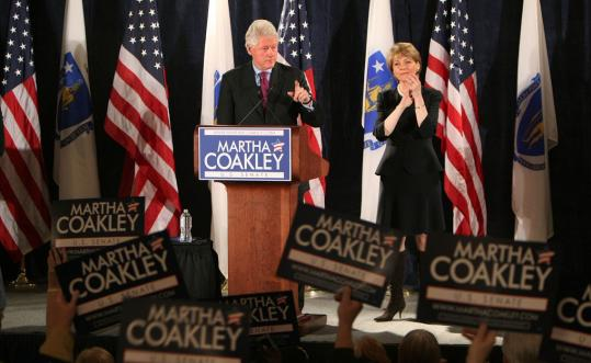 National Democrats have started campaigning for Martha Coakley, including former president Bill Clinton, who spoke at a campaign rally yesterday at the Fairmont Copley Hotel.