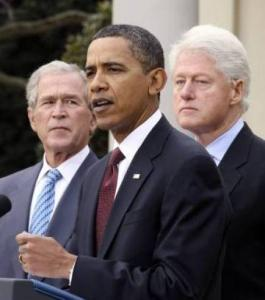 President Barack Obama was joined by George W. Bush and Bill Clinton while discussing disaster aid to Haiti at the White House Saturday.