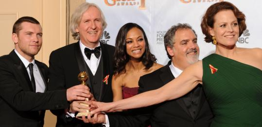 "Celebrating the ""Avatar'' win (above, from left): actor Sam Worthington, director James Cameron, actress Zoe Saldana, producer Jon Landau, and actress Sigourney Weaver. Below, from left: Mo'Nique, Sandra Bullock, and Jeff Bridges."