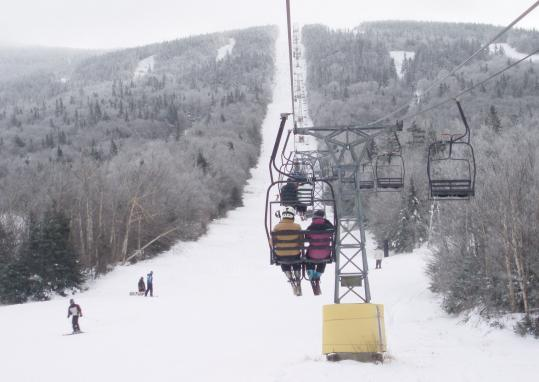 Saddleback Mountain has 66 trails for skiing and snowboarding. The Rangeley Inn (below) is the last remaining of 15 hotels that once stood on Main Street in the town's heyday in the 1920s and '30s as a western Maine resort, vacation, and fishing camp area.