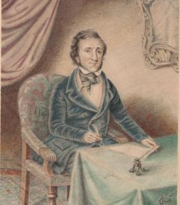 In this watercolor by A.C. Smith, Edgar Allan Poe was at the peak of his success.