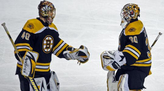 Tim Thomas (30) gave way to Tuukka Rask after Daniel Alfredsson's second of three goals.