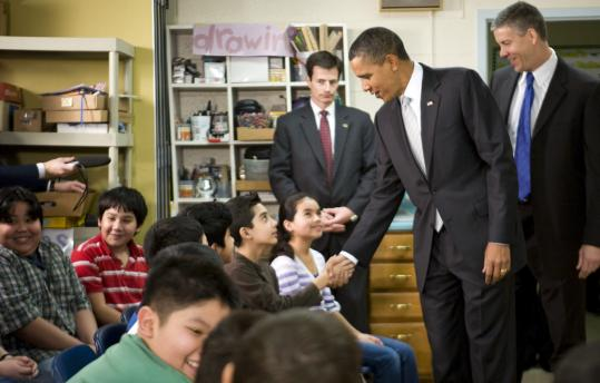 President Obama visited students at a Falls Church, Va., school yesterday before calling for increased education funding.