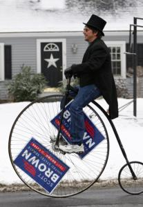 Matt Paturzo rides a high-wheeler in Wrentham yesterday.