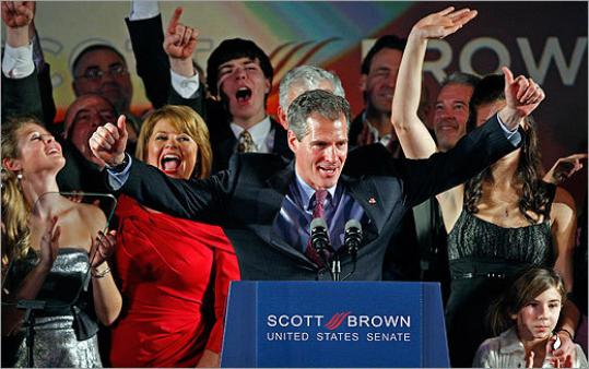 Scott P. Brown, family, and supporters were exultant last night, while a far different scene played out at the gathering for Martha Coakley.